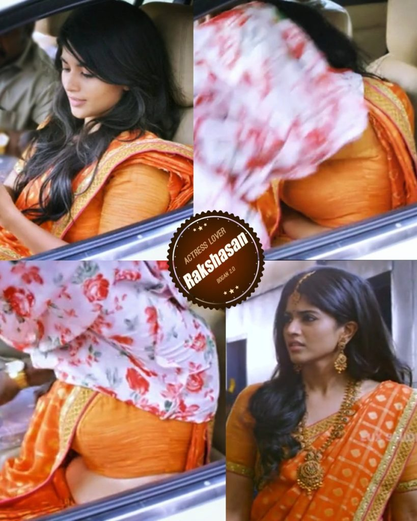 Meghaakash Orange Palam nallavey paluthu irukku saree mundhanaiya eduthu keala potu palatha jacket odakasaki puliyanum-sexy-saree-side-stripes-boobs-show