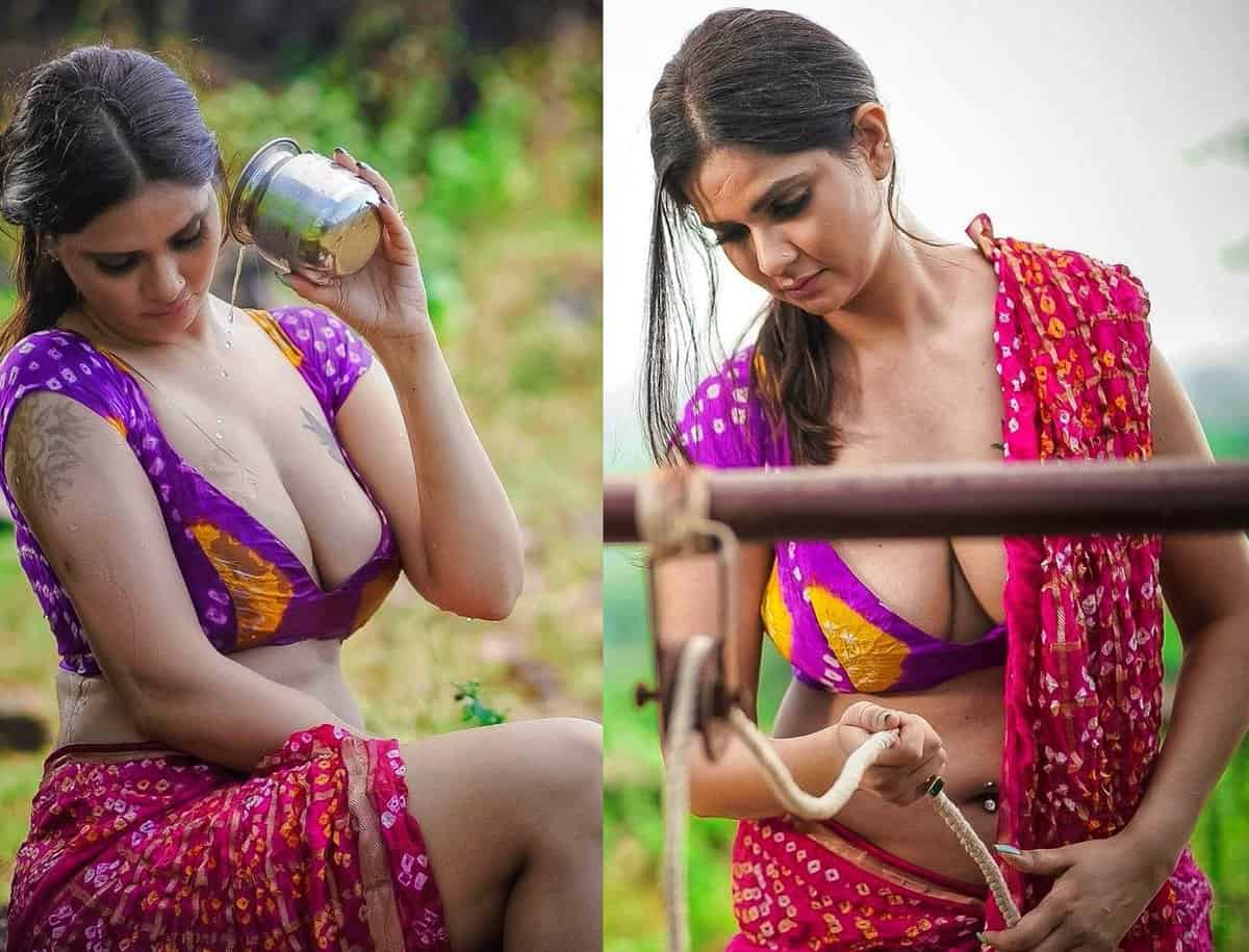 Gandi Baat actress Aabha paul Sexy hot photo collages cum memes