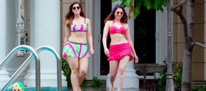 F2 - Fun - Frustration actress tamannah-bhatia - mehreen pirzda sexy hot thunder thighs show swimming pool stills