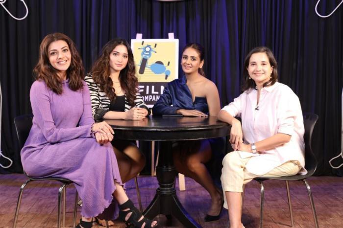 four beautiful actresses @tamannaahspeaks @mohan manjima @MsKajalAggarwal and @TheParulYadav